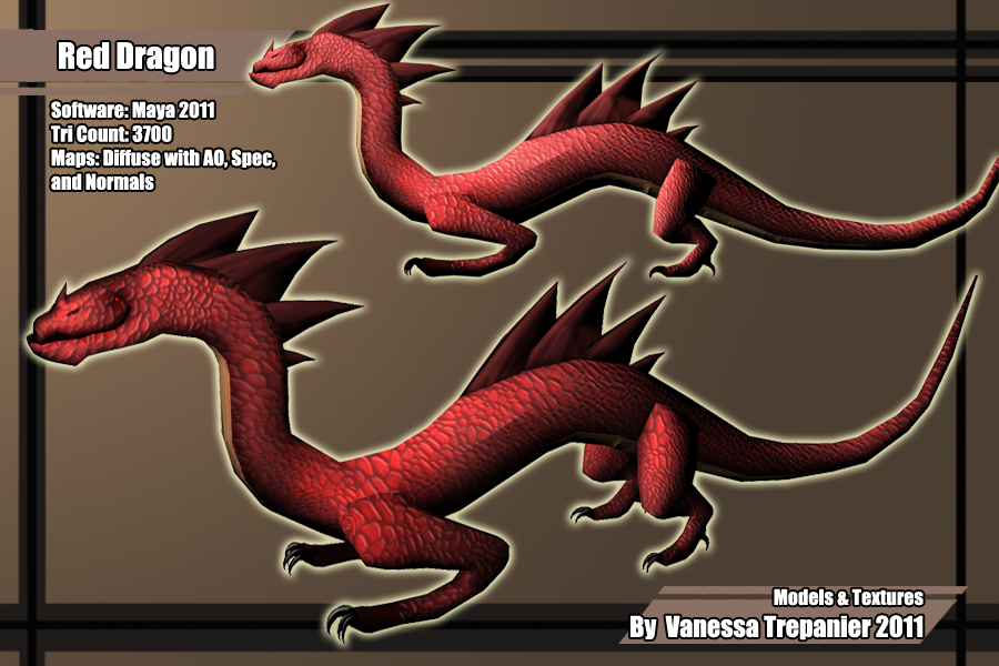 Low poly red dragon