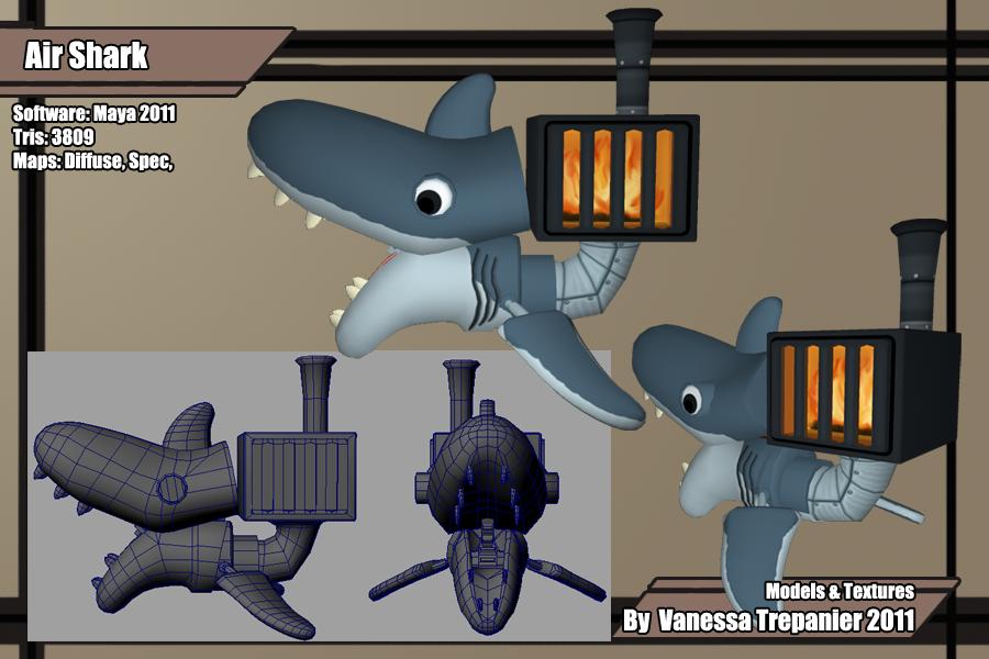 Flying shark enemy.